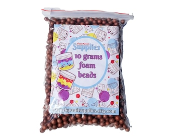 Large Bright Coco Puffs Brown Foam Beads for Slime, Cereal Foam, approx. 2 cups, Approx. 10 grams