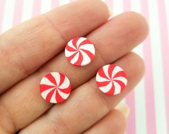 20 Small Peppermint Starlight Mint Candy Cabochons,  Polymer Clay Mint Cabs, #250B