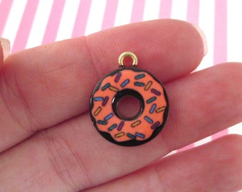 3 Gold Enamel Donut Charms #555