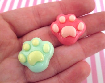 4 Pink Dog Paw Kawaii Cabochons, #357a