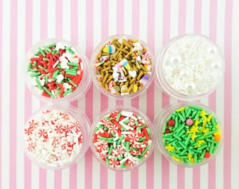 1 Six Tier Tower Christmas Holiday Themed Polymer Sprinkle Mix-in Sets