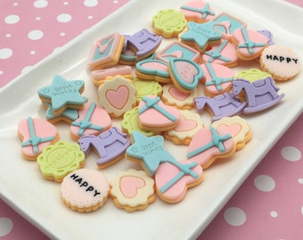 Phone Case Supply Biscuit Cabochon Resin Embellishment Fake Food Decor Kawaii Slime Charm Cookie Bar Flatback 6 Pink Cookie Cabochons