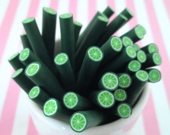 Lime Polymer Clay Canes Fruit Slices, #382a