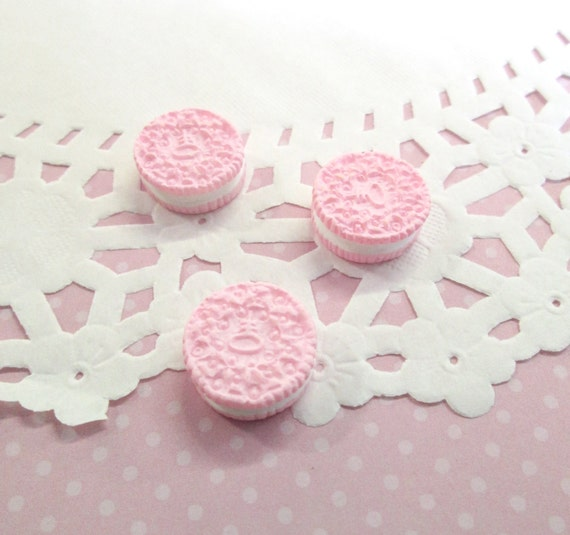 pink oreo cookie kawaii cabochons decoden sweets etsy