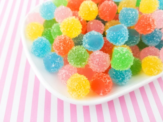 Cute NON EDIBLE Jelly Decoden Gumdrop Sweets Cabs #274 10 Assorted Soft Resin Sugared Gum Drop Candy Kawaii Cabochons