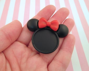 2 25mm Black Resin Mouse Ear Cabochons Settings with Bows, #766A
