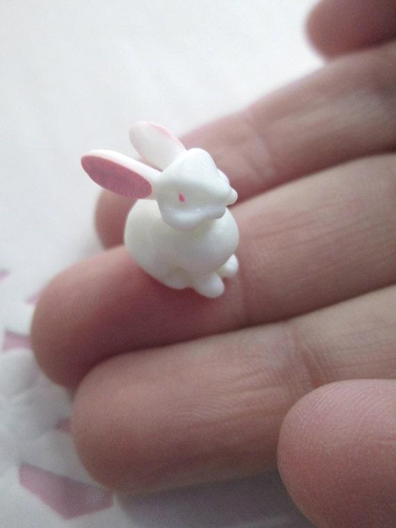 #374 Great for Glass Globe Terrarium Jewelry Miniature White Resin Rabbit Cabochons