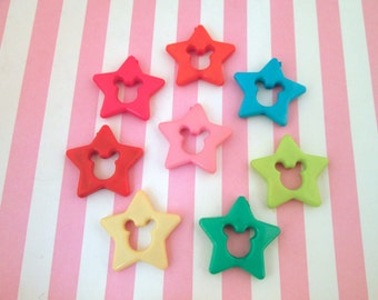 25 Assorted Mouse Ear Star Cabochon Beads, #767b