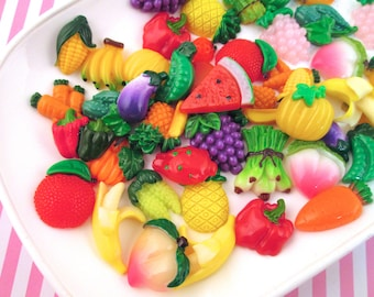 10 Assorted Fruit and Vegetable Cabochons, approximately 12-20mm #1097