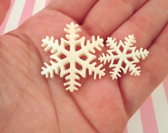 Glitter Snowflake Cabochons, Cute Holiday Christmas Cabs, #667 & #668