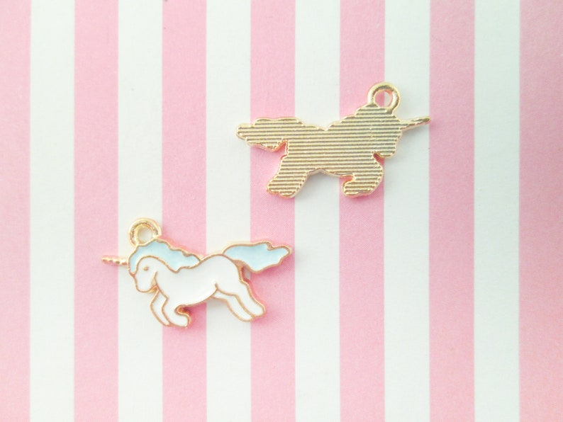 Gold Plated Enamel Charms A138 2 White and Blue Unicorn Charms