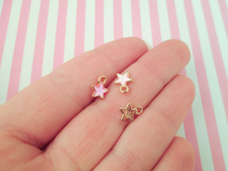 10 Pink Enamel Star Charms Gold plated Enamel Star Pendants | Etsy