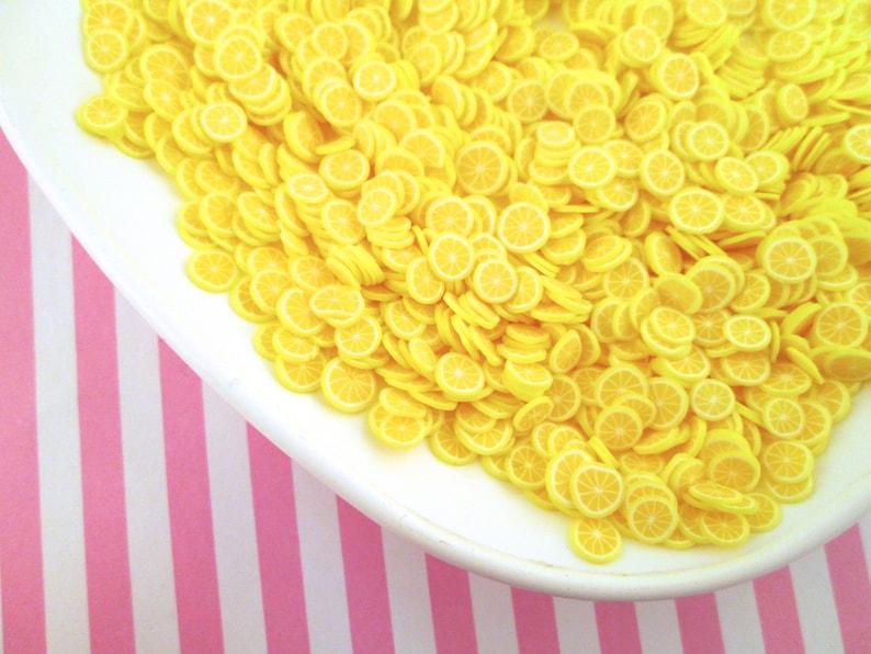 Polymer Clay Lemon Fruit Slices, Nail Art Slices, Faux Fruit, Miniature Fruit, R1 photo