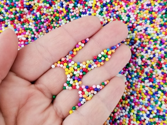 2mm Pick Your Amount Decoden Rainbow Funfetti Jimmies M158 Faux Green Nonpareil Sprinkles Faux Resin Caviar Beads