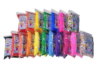 BRIGHT Foam Beads for Slime, 2mm Or 6mm, Approx. 2.5 - 3 Cups, 10-15 Grams, Pick Your Color and Style