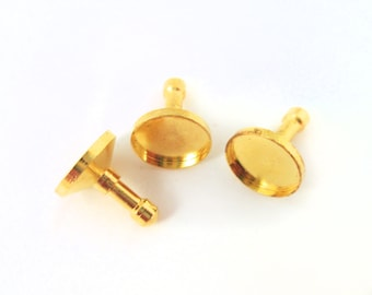 10mm Bezel Cell Phone Dust Plug/ Earphone Jack Plug with Glass Cabochons, #1058