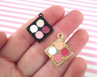 Metal Enamel Make Up Compact Charms, pick your amount and color #594