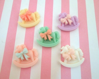 Pastel Baby shower Rocking Horse Cabochons, Cute Fairy Kei Cabochons, #1114