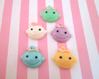 Assorted Smiling Resin Baby Cabochons 20x22mm, #788a