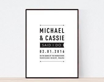 DIGITAL FILE, Modern Wedding Print, Personalised Wedding Print, Wedding Gift