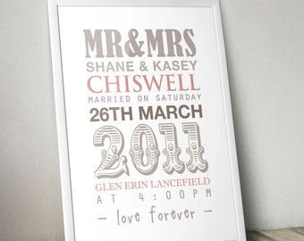DIGITAL FILE, Wedding Gift, Personalised Wedding Print, Custom Wedding Print, Anniversary Gift