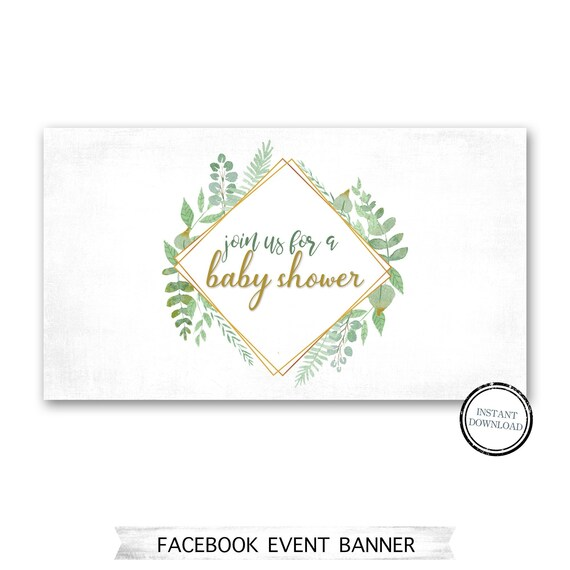Facebook Event Page Banner Baby Shower Floral Greenery Gold Etsy