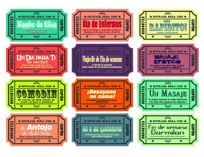 Spanish Version Printable Love Coupons For Wife Husband Etsy