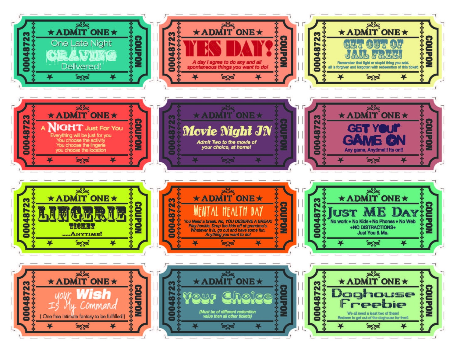 Printable Love coupons for wife/husband boyfriend