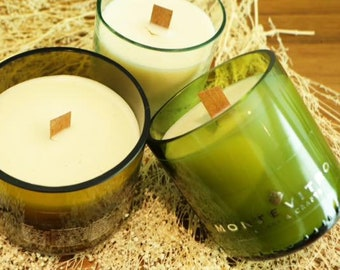 Three candles aromatic artisan, Vitro Big with wooden wick.