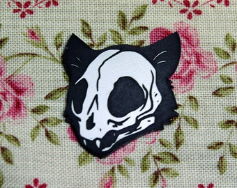 Cat Skull Pin, black and white, laser cut acrylic