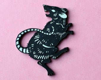 Fierce Rat Pin, black and white, laser cut acrylic