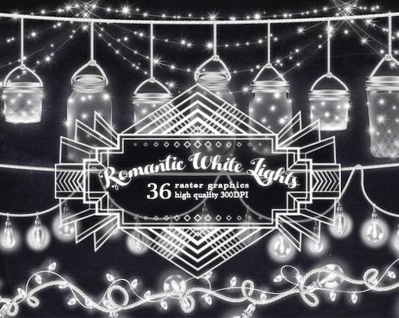 Romantic White String Lights Clipart Light Banners Mason
