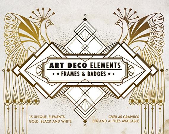 Art Deco Elements Frames And Badges Design Kit Art Deco Etsy