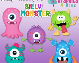 Silly Monster Digital Clipart - Clip art for scrapbooking, party invitations - Instant Download Clipart Commercial Use