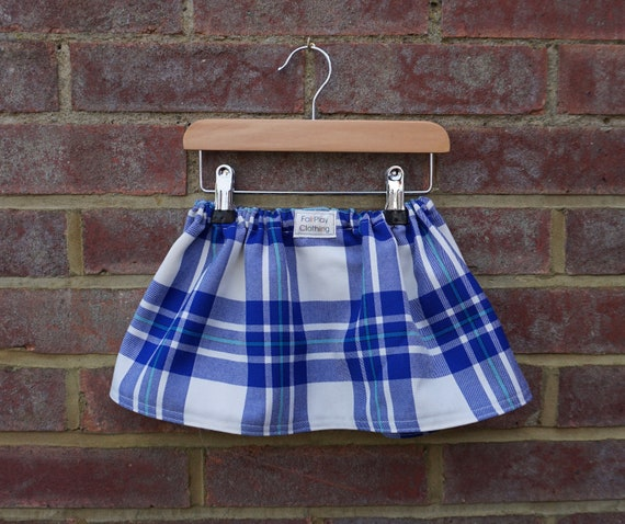 Blue Zero Waste Tartan Skirt Age 0-24m