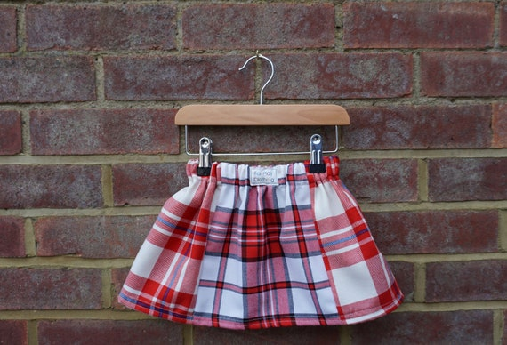 Red Zero Waste Tartan Skirt Age 0-24m