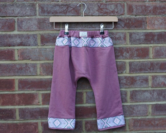 Blush Pink Harem Style Trousers with Embroidered Cuff Age 1-3yrs