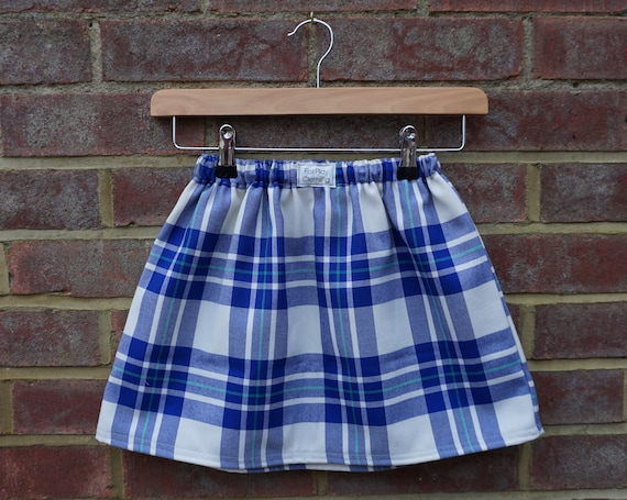 Blue with Turquoise Zero Waste Tartan Skirt Age 5-7yrs