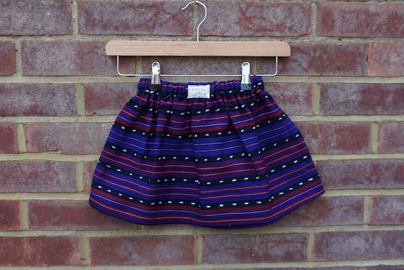 Maya Fair Trade Skirt  - Purple, Blue and Burgundy Age 1-3yrs