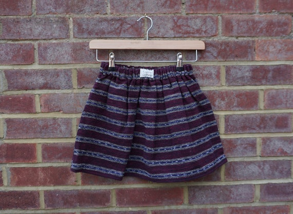 Maya Fair Trade Burgundy Skirt with Fringe Age 7-12yrs