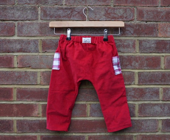 Red Corduroy Trousers with Side Pockets Age 1-3yrs