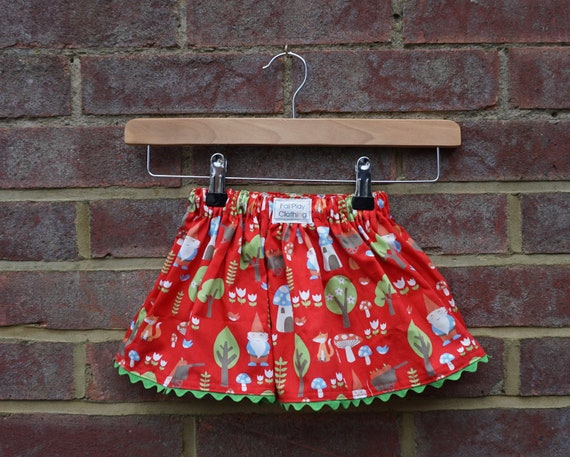 Woodland Gnome Skirt with Green Ric Rac Trim Age 0-12m