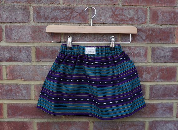 Maya Fair Trade Skirt - Purple and Turquoise Age 1-3yrs