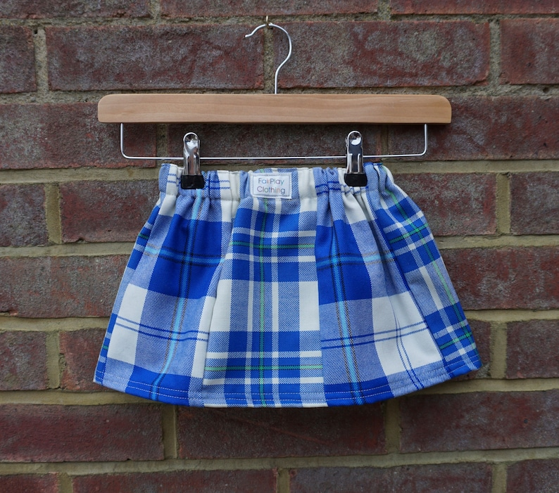 Blue with Green Zero Waste Tartan Skirt Age 1-3yrs