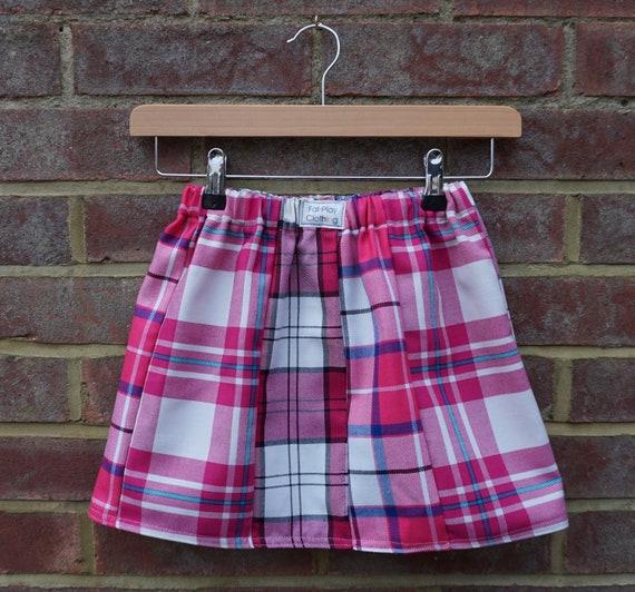 Pink  Zero Waste Tartan Skirt Age 5-7yrs