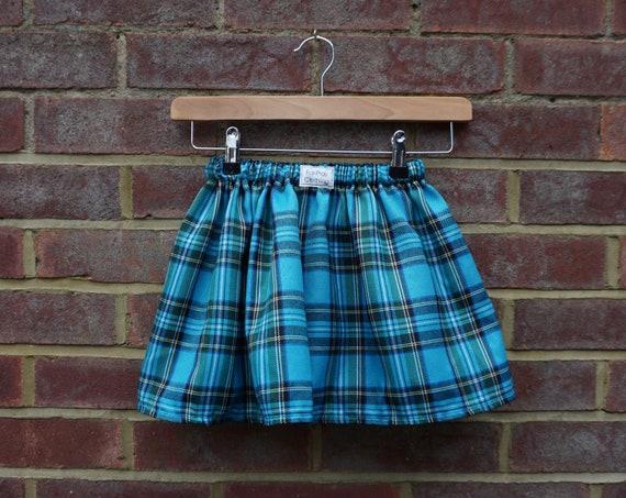 Turquoise Tartan Skirt Age 3-5yrs