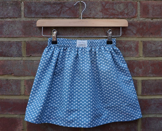 Reversible Blue Floral and Heart Pattern Skirt Age 5-7yrs