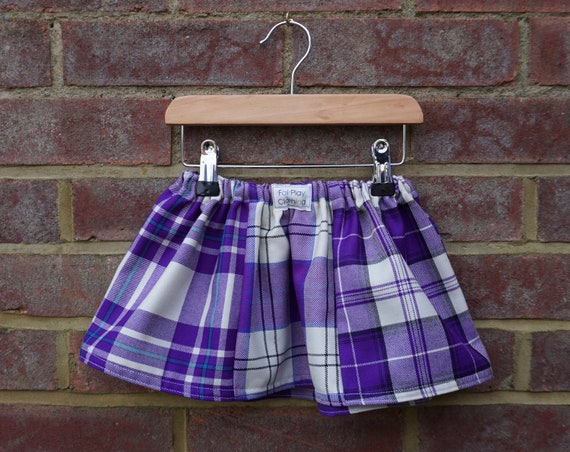 Purple Zero Waste Tartan Skirt Age 0-24m