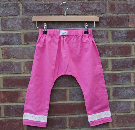 Pink Harem Style Trousers with Trim Age 1-3yrs