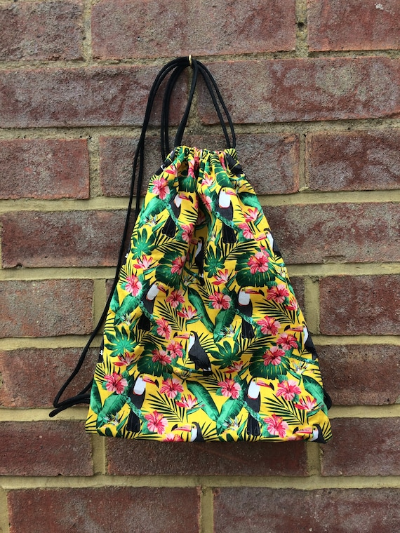 Toucan Drawstring Bag with Braided Satin Cord